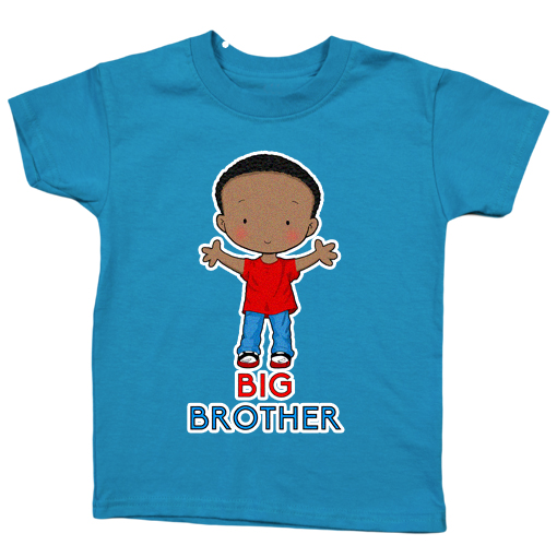 Little Brother, Black Hair, Dark Skin, Tshirt color blue